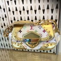 Auth Louis Vuitton 2007 Tote Bag White Gold Medium Leather Metal Flap LV... - $2,418.57