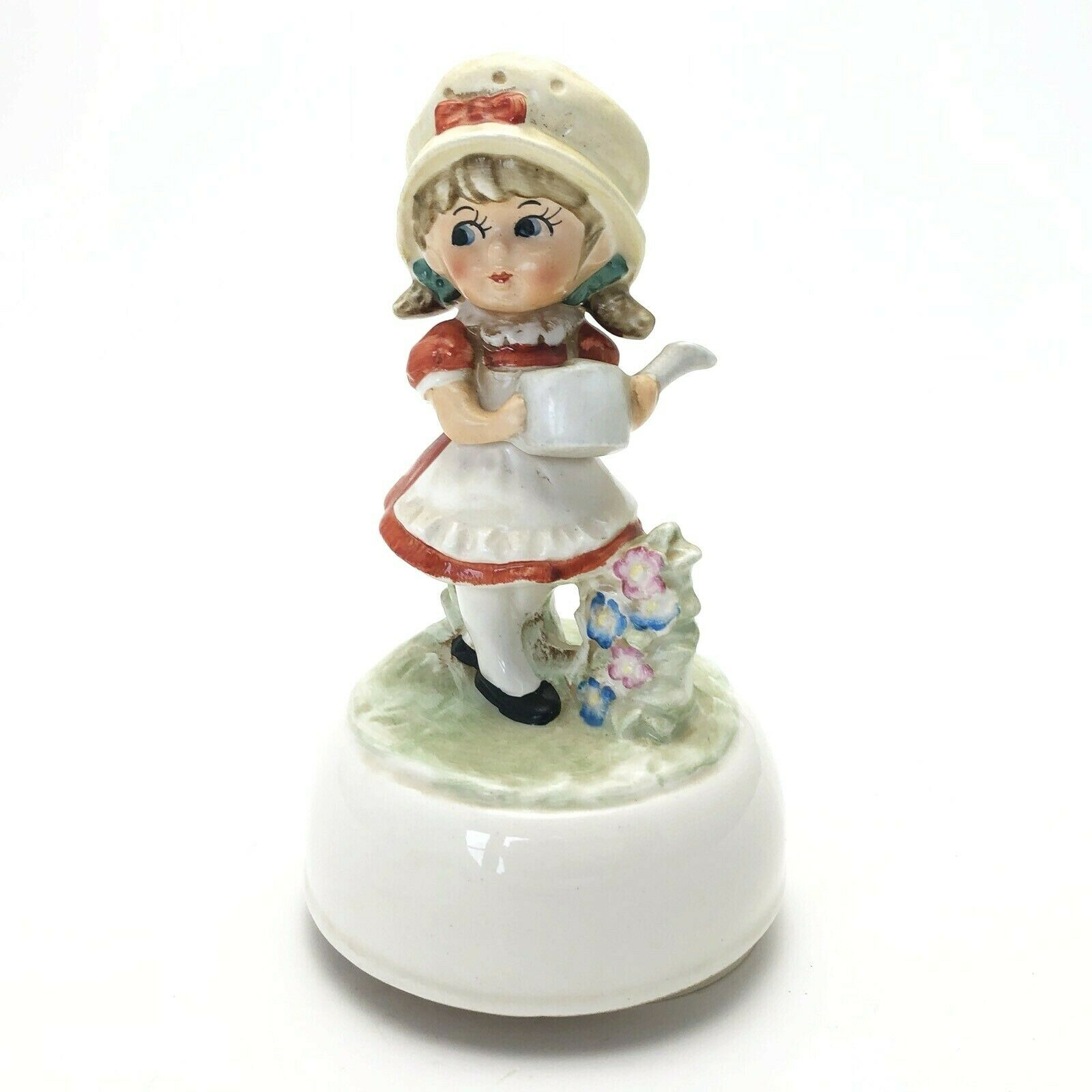 Primary image for Vintage Schmid Music Box Girl Watering Garden We've Only Just Begun