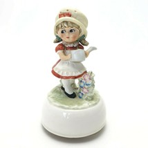 Vintage Schmid Music Box Girl Watering Garden We've Only Just Begun - $27.33