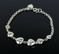 Vintage Sterling Silver .925 Hong Kong Graduating Heart Hollow Bracelet ... - $15.98