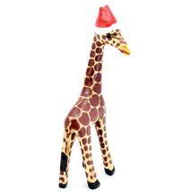 Hand Carved & Painted Jacaranda Wood Santa Hat Giraffe Safari Christmas Figurine image 4