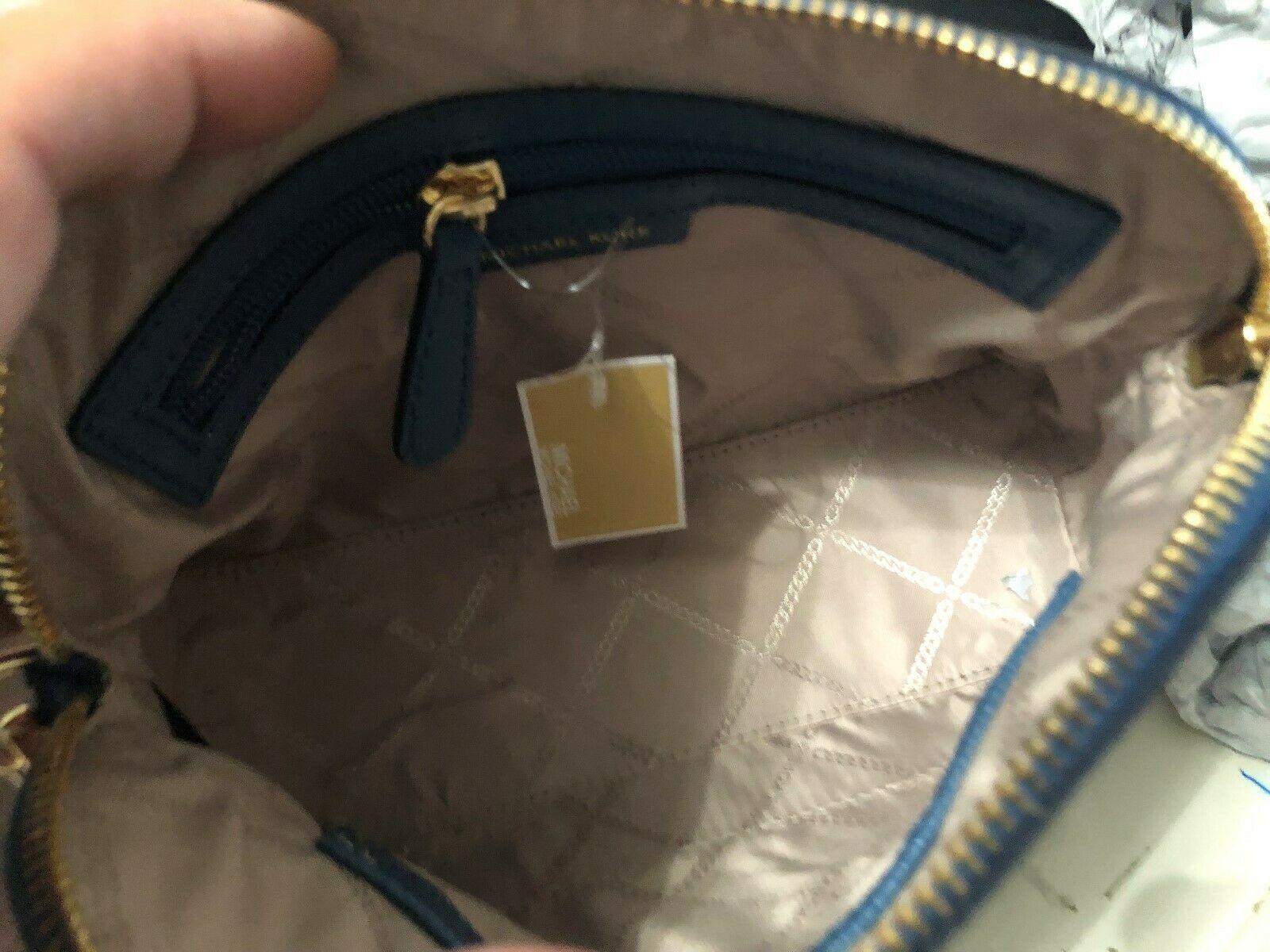 Michael Kors Mott Cindy Large Zip Dome Crossbody Bag Crossgrain Leather Chambray image 8