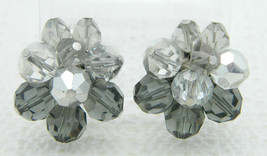 Vintage VENDOME Silver Grey Gray Crystal Cluster Clip Earrings - $39.60