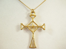 Brushed Gold Plate CELTIC CROSS Necklace Chain Pendant Religious Goth Vi... - $15.83
