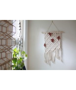 Macrame Wall Hanging with Natural and Rose Diamond Pattern - $55.00