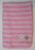 Circo Pink Baby Girl Blanket 39x31in Flower Striped Security Lovey Embro... - $19.99