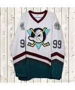 Adam Banks Hockey Stitched Jersey The Mighty Ducks Movie #99 White S - ... - $45.99