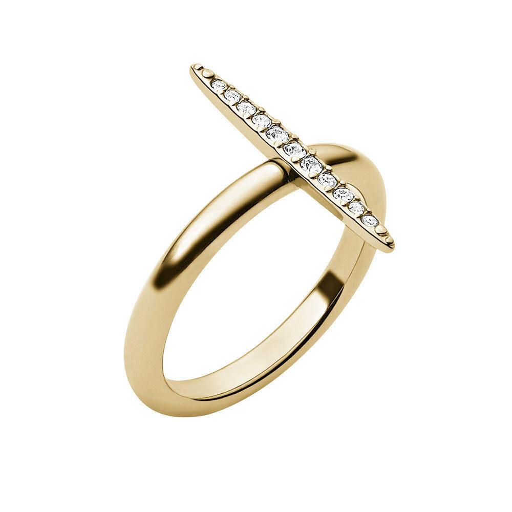 MKJ3522 Michael Kors Brilliance Matchstick Ring Gold Tone Crystal Pave Sz 6 - $42.07