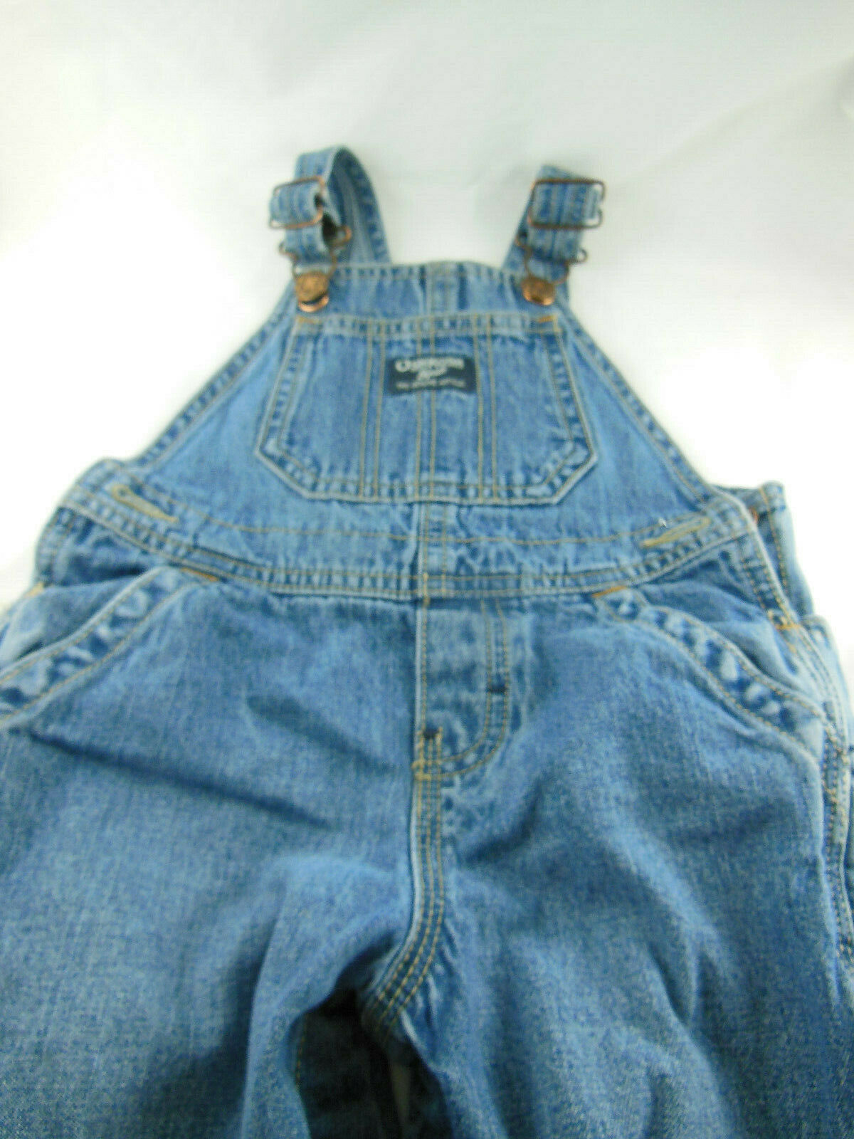 Primary image for Vintage OshKosh Bgosh 18M Classic Blue Denim Overalls w Bib Bibbed snap crotch