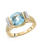 Ring With 3.62ctw Genuine Topazes 14K/925 Gold plated Silver - $99.00