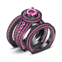14k Black Gold Finish 925 Silver Pink CZ Engagement Trio Ring Set Free Shipping - $178.99