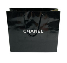 """Authentic CHANEL Black Paper Gift Shopping Bag- 10.5 x 9"""" x 4.5"""" - $23.71"""