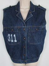 VTG Levis Juniors jean jacket Vest denim sleeveless 90s Era Womens Size M - $32.62