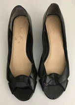 Cole Haan Air Wedge Heels Womens Size 10 AA Black Patent Leather Peep Toe Shoes - $16.82
