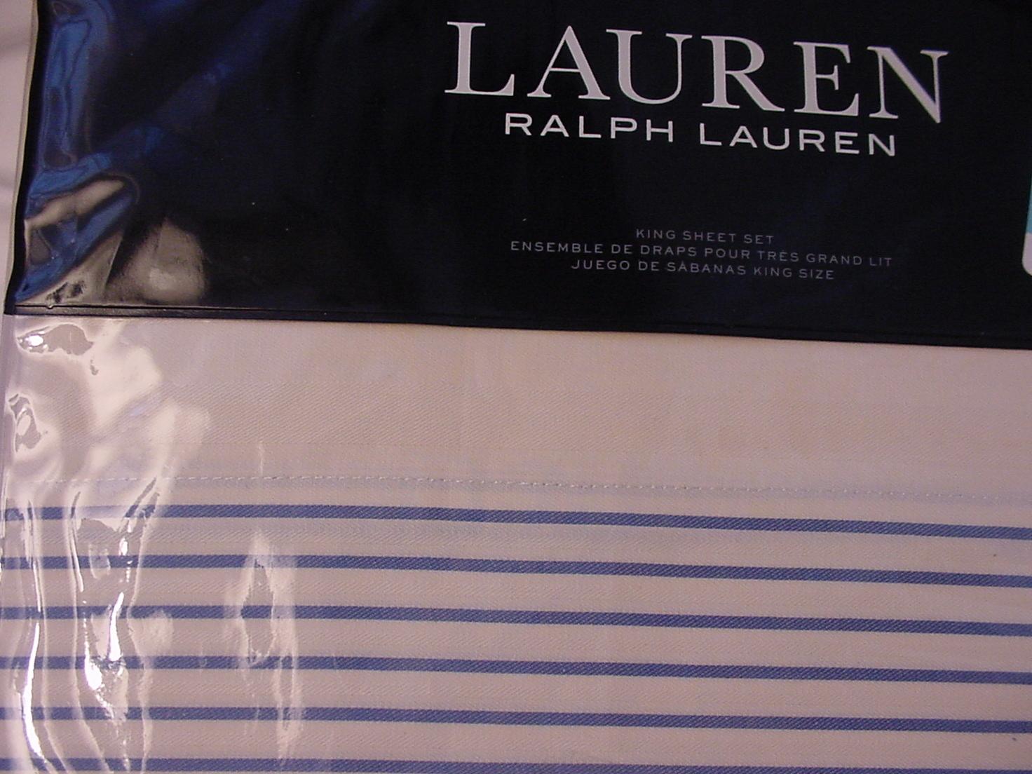 Ralph Lauren Josephina Stripe Cream/Blue Sheet Set King