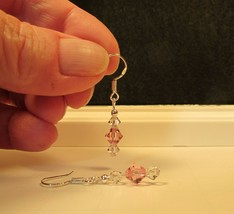 made w Pink & Clear Swarovski Crystals Silver Rosary Dangle Earrings Petite HC - $10.89