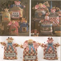 """12"""" 15"""" 20"""" Country Farm Burlap Feed Sack Doll Cow Pig Chicken Bunny Sew... - $11.99"""