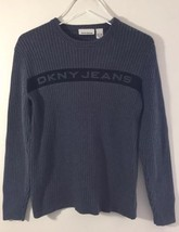 DKNY Jeans Women Ribbed Sweater Medium Grey Cotton Crew Neck - $27.69