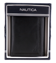 Nautica Men's Genuine Vintage Leather Credit Card Id Trifold Wallet image 9