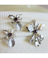 Vintage Bugbee Niles Prestige BN Rhinestone Orchid Pin Earring Silver Plate - $26.99