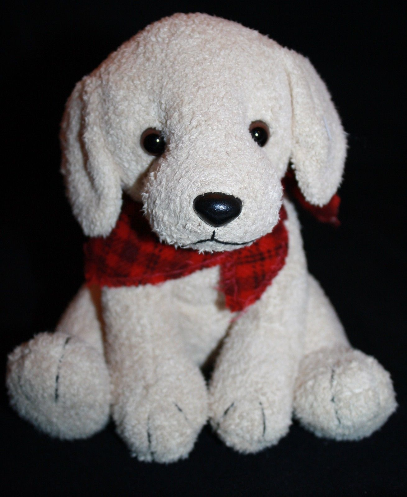 "Primary image for Russ Plush DOG SCARFS 7"" Stuffed Animal Tan Soft Toy Red Plaid Bandana 21235"