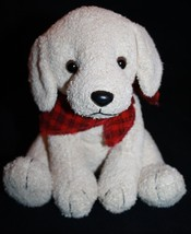 "Russ Plush DOG SCARFS 7"" Stuffed Animal Tan Soft Toy Red Plaid Bandana 2... - $18.29"