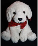 "Russ Plush DOG SCARFS 7"" Stuffed Animal Tan Soft Toy Red Plaid Bandana 2... - $18.29"
