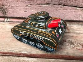 Vintage YONE Japan Small Tin Wind Up Army Pop Up M-Tank YONEZOWA - $29.65