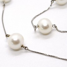 Necklace White Gold 750 18K, White Pearls 10 mm, with Pendant, Chain Venetian image 2