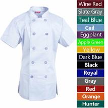 Women's Chef Coat Short Sleeve Chef Shirt Cook Coat Barista Baker Uniform - $26.98