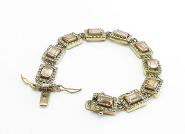 925 Sterling Silver - Vintage Imperial Topaz Gold Plated Chain Bracelet - B6064 image 3