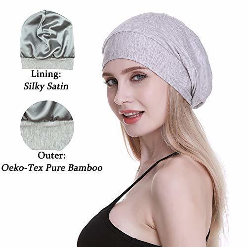 Cute Slouchy Cap for Long Hair Girls Fashion Satin Lined Sleep Beanie Public Hea
