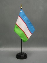 "UZBEKISTAN 4X6"" TABLE TOP FLAG W/ BASE NEW DESK TOP HANDHELD STICK FLAG - $4.95"