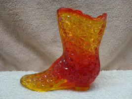 Fenton amberina daisy & buttod glass boot. - $9.90