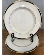 """Set of 2 Lenox Hancock Presidential Dinner Plates Black Gold Beaded 10.5"""" - $80.40"""
