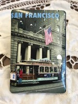 San Francisco California Trolley American Flag Photo Magnet In Front Of ... - $5.52