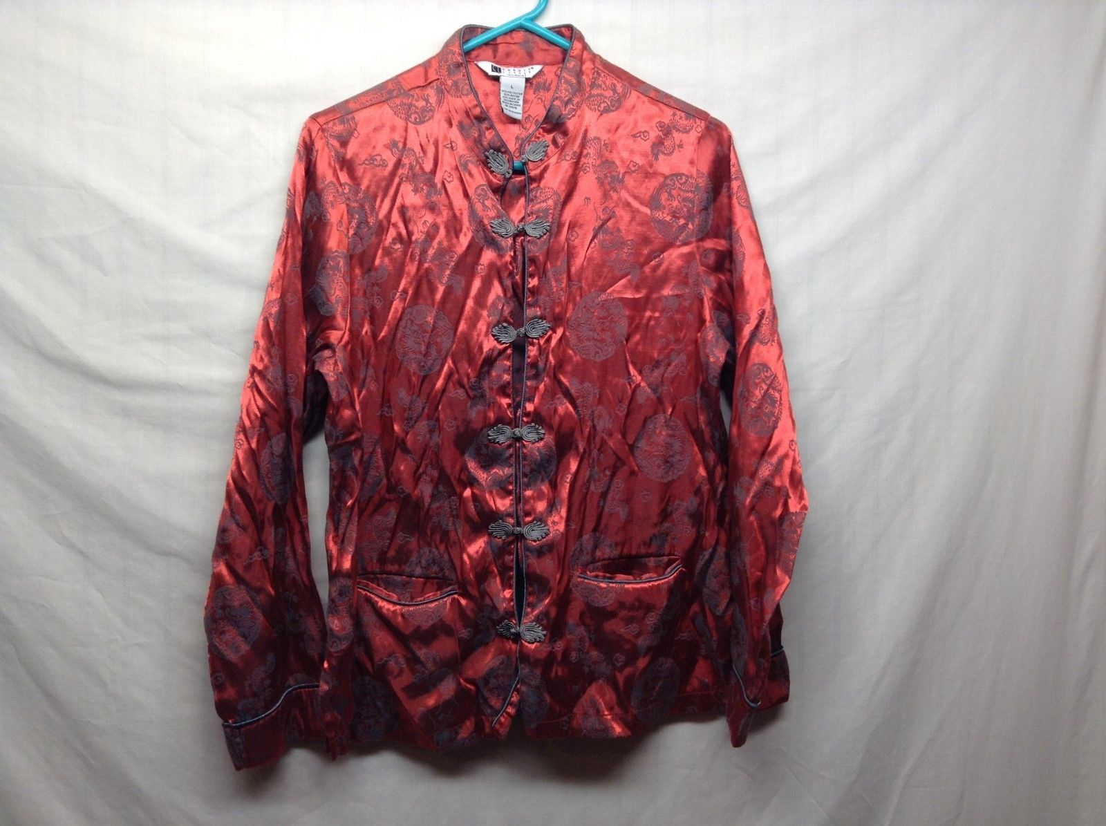 Carole Little Intimates Traditional Asian-Style Red/Grey Pajama Top Sz L