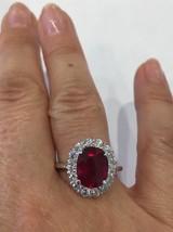 Solid 14K White Gold Genuine 3.96 ct Ruby & Genuine 1 ct Diamond Ring Sz 7 - $2,799.00