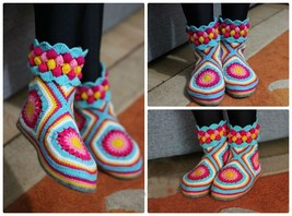 Rainbow Bedroom Slippers, Female Ankle Boots, Crochet shoes with Leather... - £28.73 GBP+