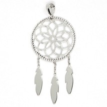 18K WHITE GOLD DREAMCATCHER PENDANT, FEATHER, MADE IN ITALY, 1.8 INCHES, 45 MM image 1