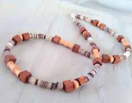 Guy / Man / Dude / Masculine Black Lip Shell Heishi  Wood Beaded Necklac... - $19.99