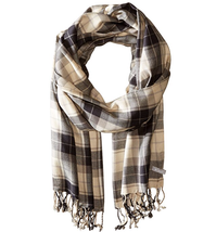 New Columbia Women's Long Fringe Cream and Black Plaid Scarf - £14.39 GBP