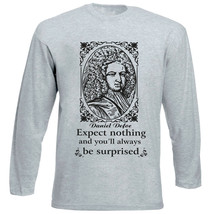 Daniel Defoe Expect Nothing - New Cotton Grey Tshirt - $27.10