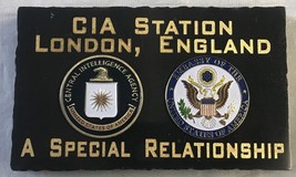 "CIA Station London England USEMB Jet Black Marble Desk Plaque Gold 5"" X 3"" - $64.35"
