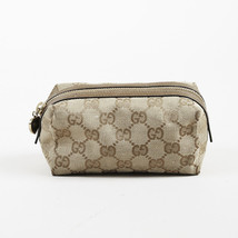 "Gucci Brown Canvas & Leather ""Original GG"" Zip Cosmetic Pouch - $205.00"