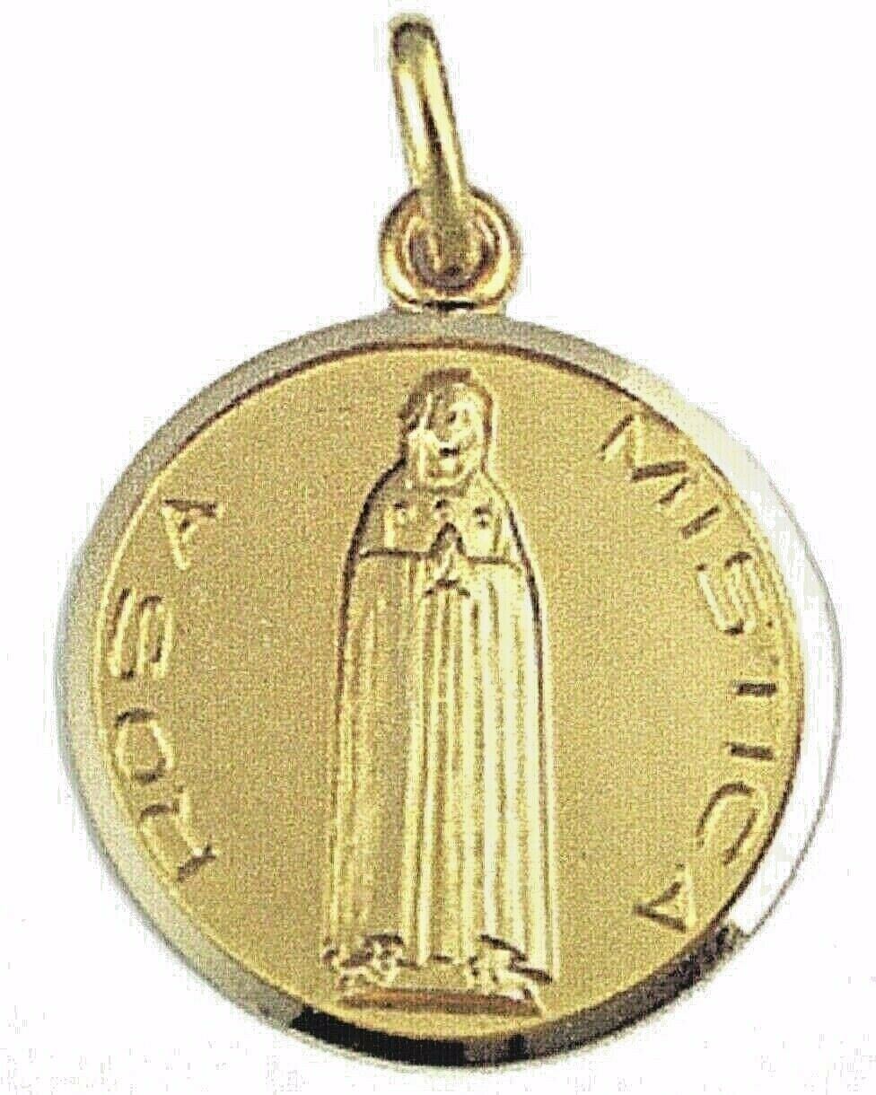 SOLID 18K YELLOW GOLD ROUND MEDAL, ROSA MISTICA, MYSTICAL ROSE, VIRGIN MARY 17mm