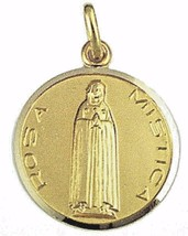 SOLID 18K YELLOW GOLD ROUND MEDAL, ROSA MISTICA, MYSTICAL ROSE, VIRGIN MARY 17mm image 1
