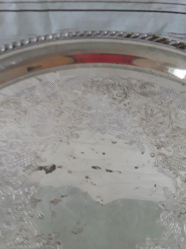 Vintage Wm A Rogers etched pierced rim round silver serving tray wedding platter