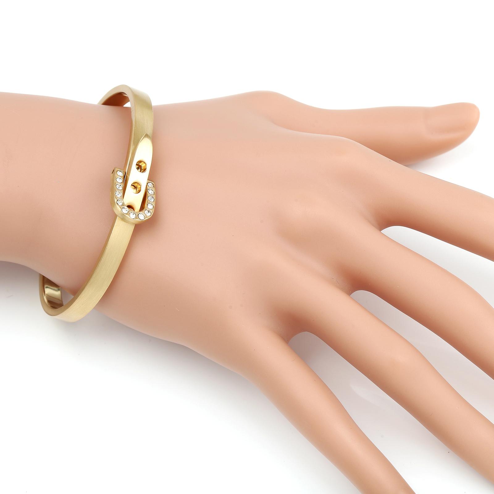 UE-Designer Gold Tone Bangle Bracelet, Buckle Clasp & Swarovski Style Crystals