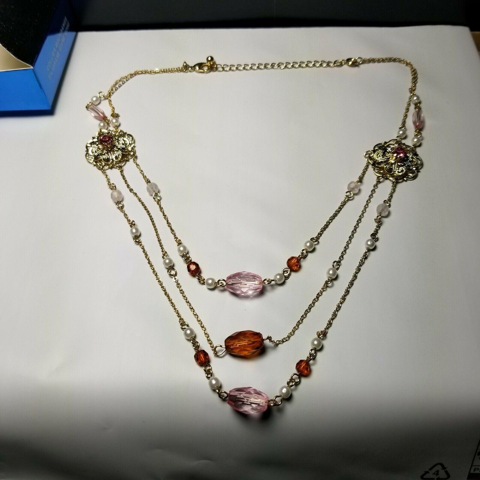 Lux Accessories SilverTone Owl Multi Chain Gemstone Multi Strand Chain Necklace